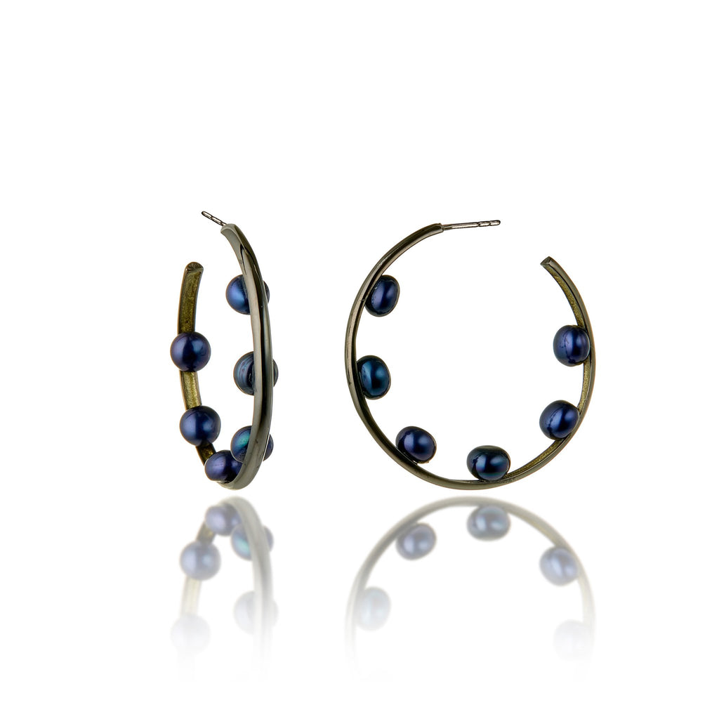 Sterling Silver Hoop Earrings With Metallic Olive Enamel & Black Pearl