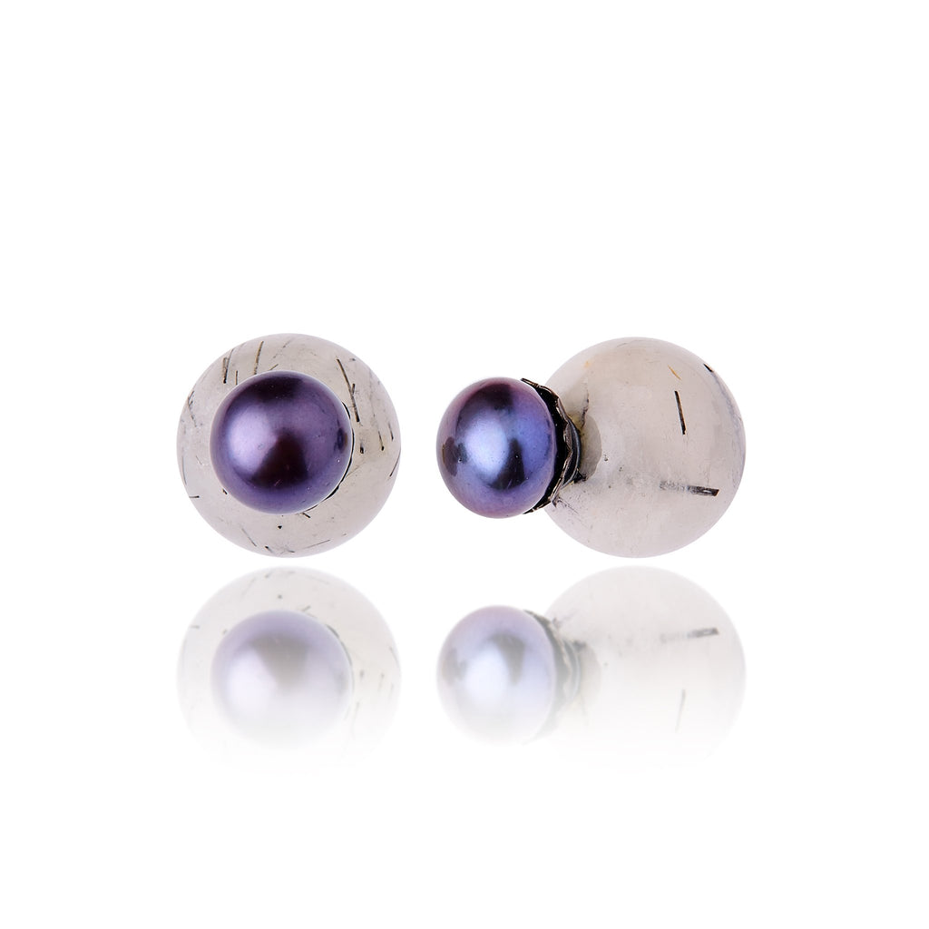 Sterling Silver Stud Earrings with Black Pearls & Bo Beads