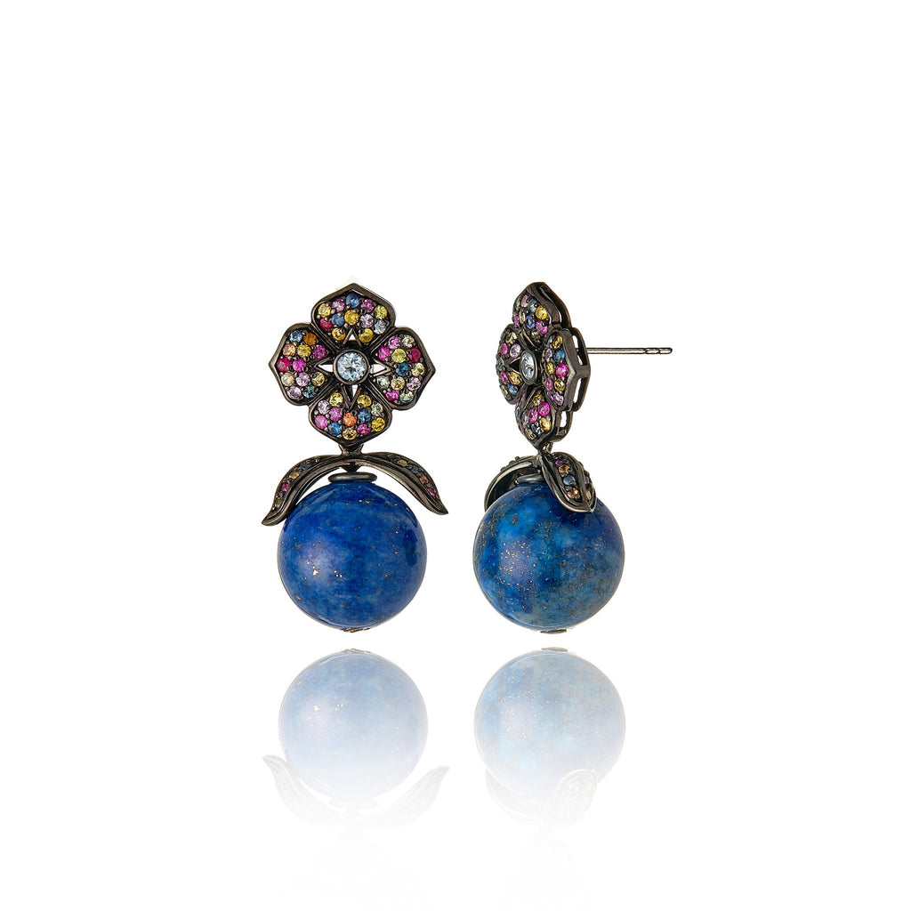 Sterling Silver Statement Earrings With Black Enamel, Mixed Sapphires & Lapis Drop