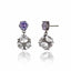 Sterling Silver Statement Earring Clips With Amethyst & White Topaz
