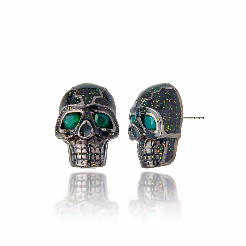 Sterling Silver Stud Earrings With Dark Black/Gold Glitter Enamel & Green Agate