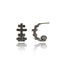 Black Rhodium Plated Sterling Statement Earring Set With Black Sspinel and Black Pearl