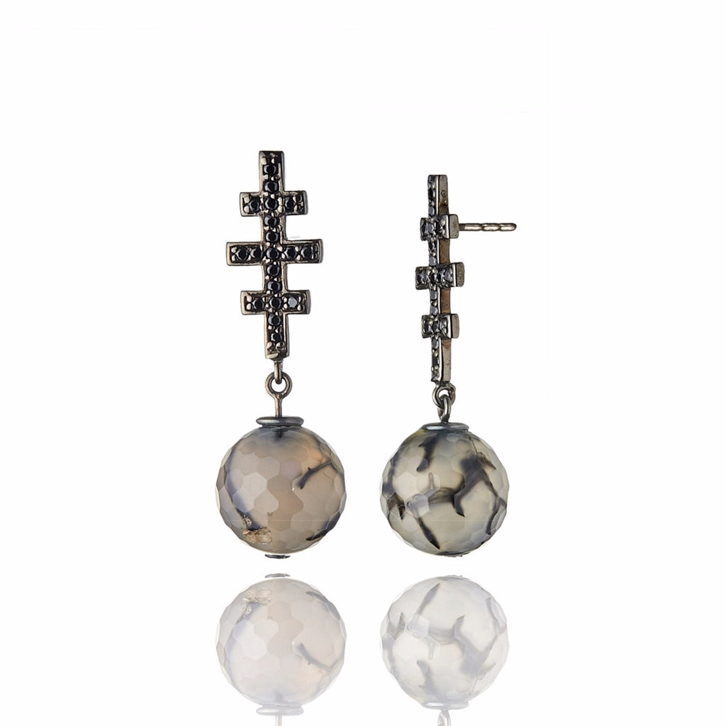 Sterling Silver Statement Earrings With Black Spinel & Agate Dragon Beads