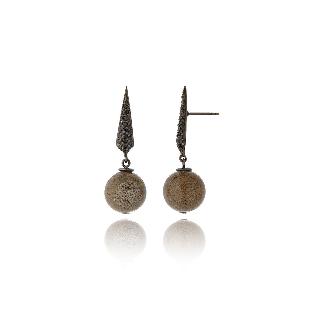 Sterling Silver Statement Earrings With Black Spinel & Jasper Beads