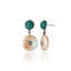 Sterling Silver Statement Earrings with Green Sapphires, Green Agate & Pink Pearls