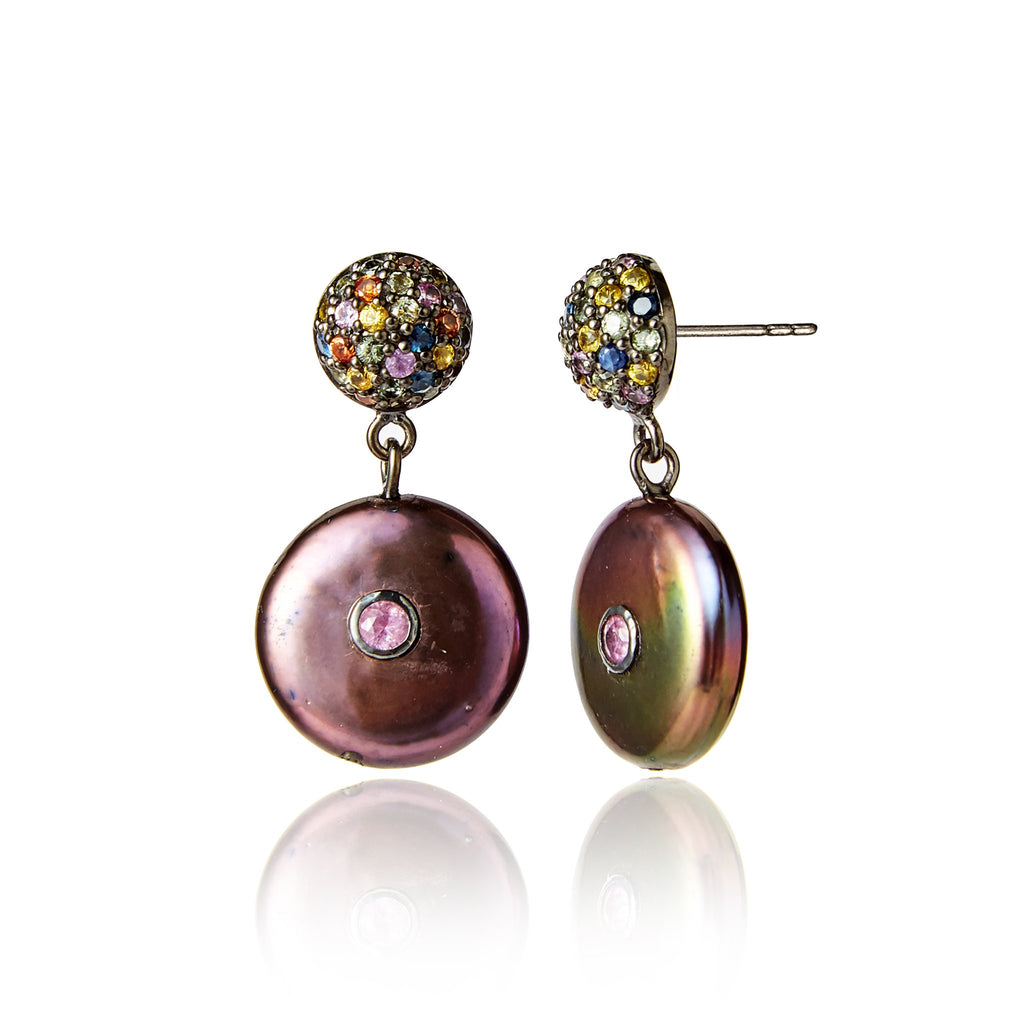 Sterling Silver Statement Earrings with Mixed Sapphires & Black Pearls