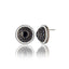 Sterling Silver Stud Earrings With White Enamel, Black Spinel & Black Onyx