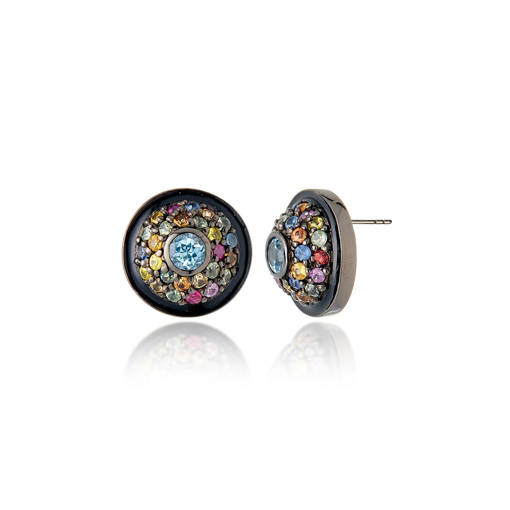 Sterling Silver Stud Earrings With Black Enamel, Mixed Sapphires & Blue Topaz