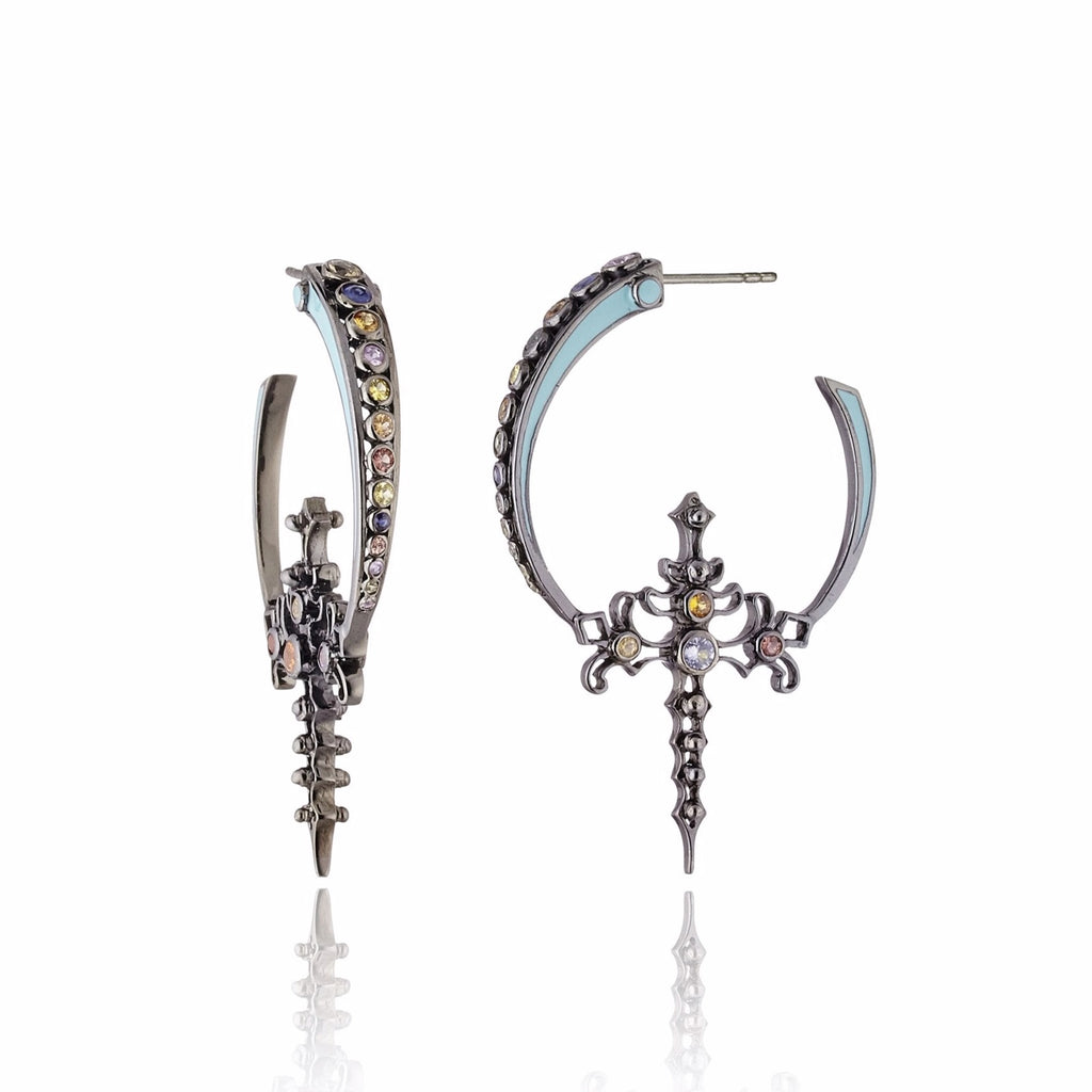 Black Rhodium Plated Sterling Hoop Earring With Mint Enamel Mix Sapphire