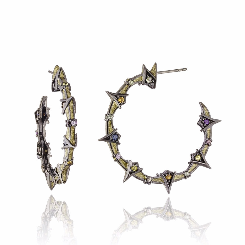 Sterling Silver Hoop Earrings With Metallic Olive Enamel & Mixed Sapphires
