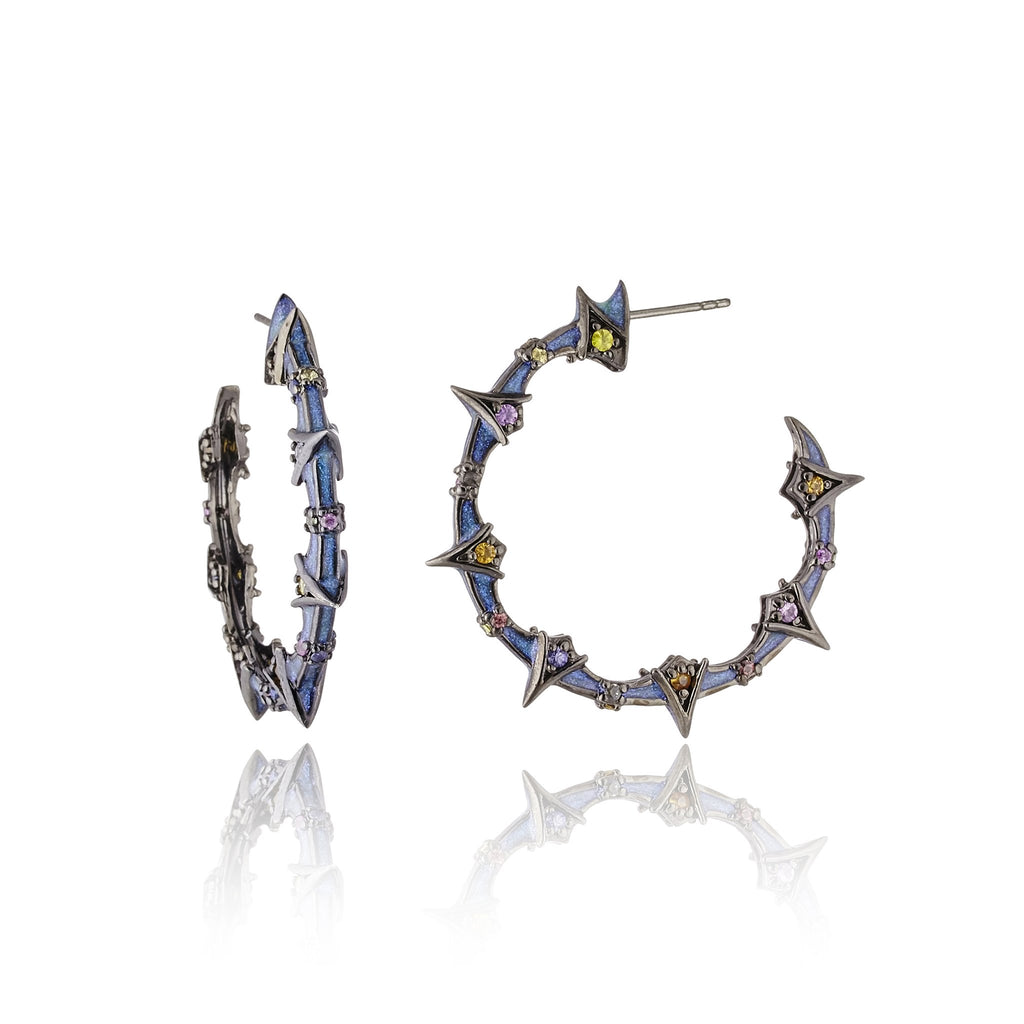 Sterling Silver Hoop Earrings With Midday Blue Glitter Enamel & Mixed Sapphires