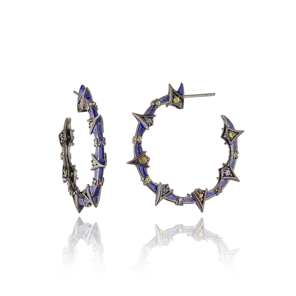 Sterling Silver Hoop Earrings With Dark Purple Oil Enamel & Mixed Sapphires