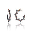 Black Rhodium Plated Sterling Hoop Earring With Coral Pink Enanel Black Spinel