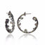 Sterling Silver Hoop Earrings With Black Enamel & Mixed Sapphires