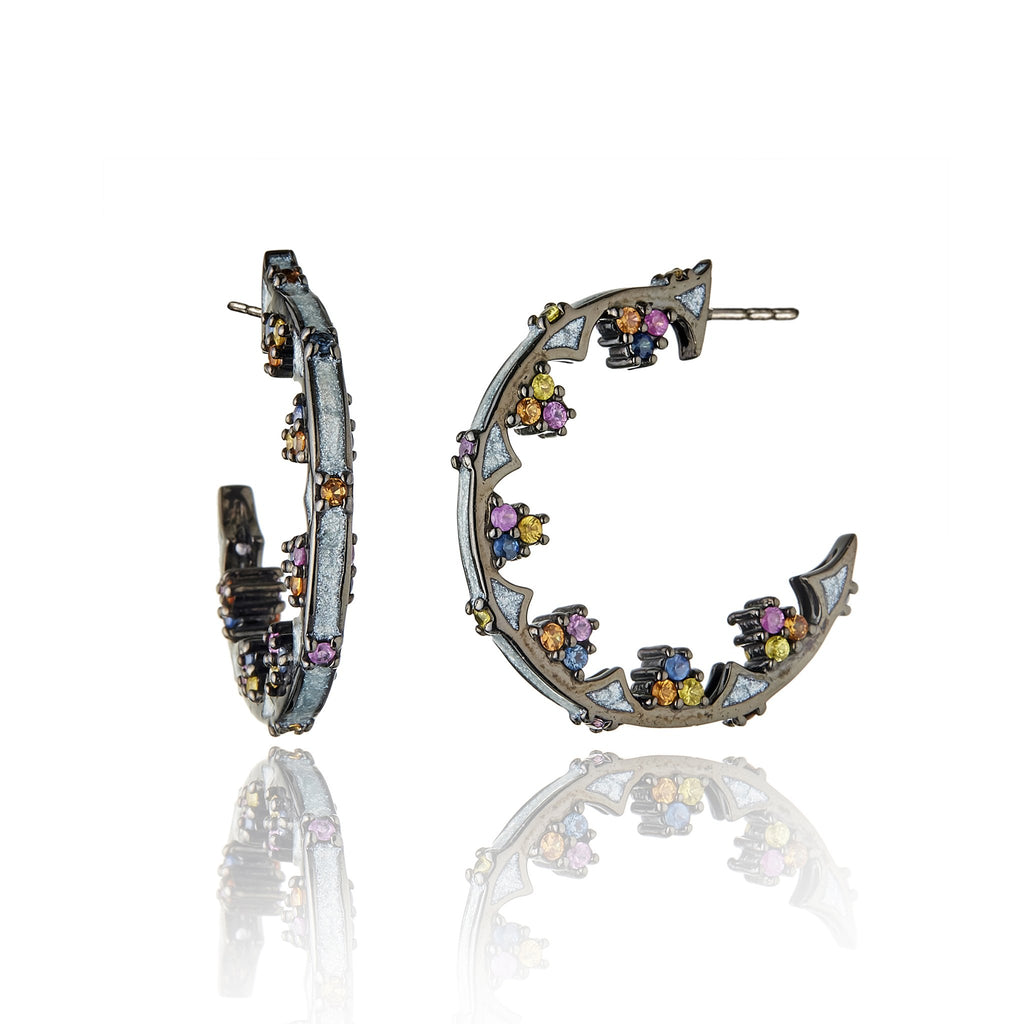 Sterling Silver Hoop Earrings With Star White Glitter Enamel & Mixed Sapphires