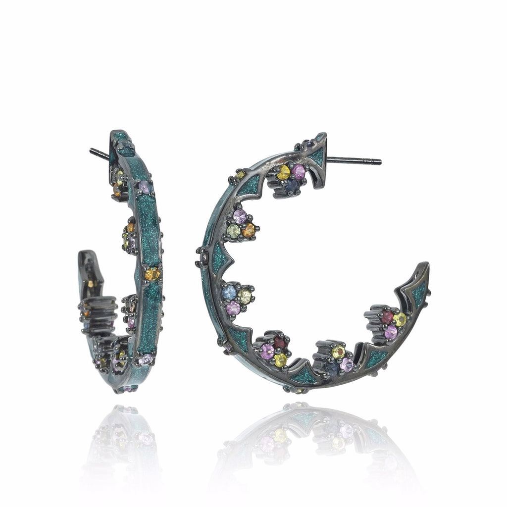 Sterling Silver Hoop Earrings With Metallic Xmas Green Glitter Enamel & Mixed Sapphires