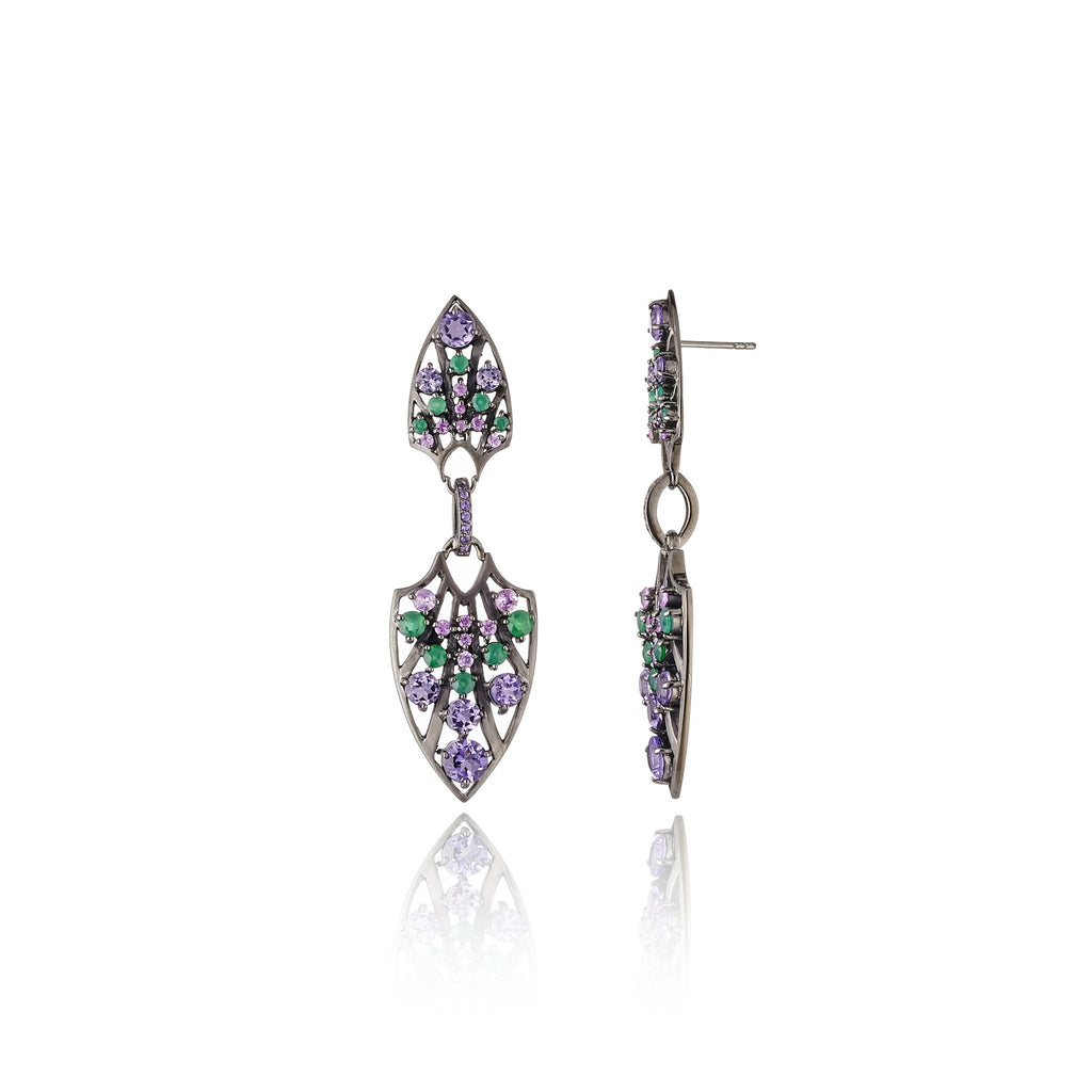Sterling Silver Statement Earrings With Pink Sapphire, Green Agate & Amethyst