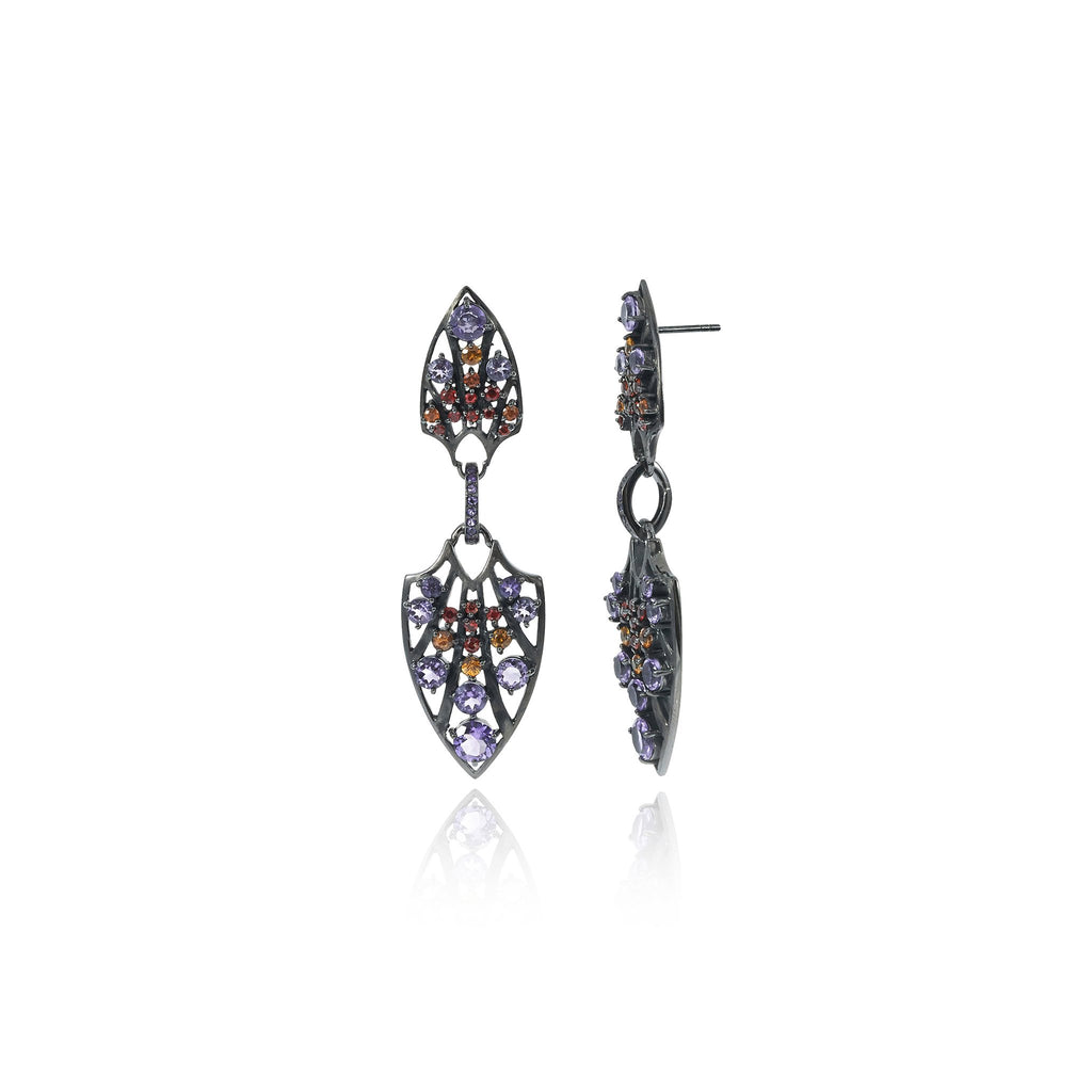Sterling Silver Statement Earrings With Red Sapphire, Orange Sapphire & Amethyst