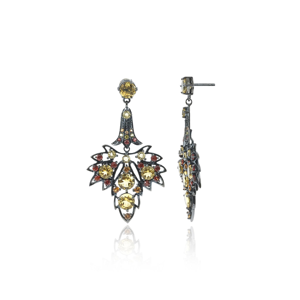 Sterling Silver Statement Earrings With Orange Sapphire, Red Sapphire, Yellow Sapphire & Citrine