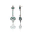 Sterling Silver Statement Earrings With Green Agate & White Topaz