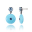 Sterling Silver Statement Earrings with Blue Sapphires, Blue Topaz & Turquoise Beads