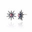 Black Rhodium Plated Sterling Stud Earring Set With White Topaz and Black Pearl