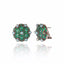 Black Rhodium Plated Sterling Button Earring Set With Green Agate and Black Pearl