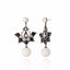 Sterling Silver Statement Earrings With White Enamel, Onyx, White Pearl & White Agate Drop