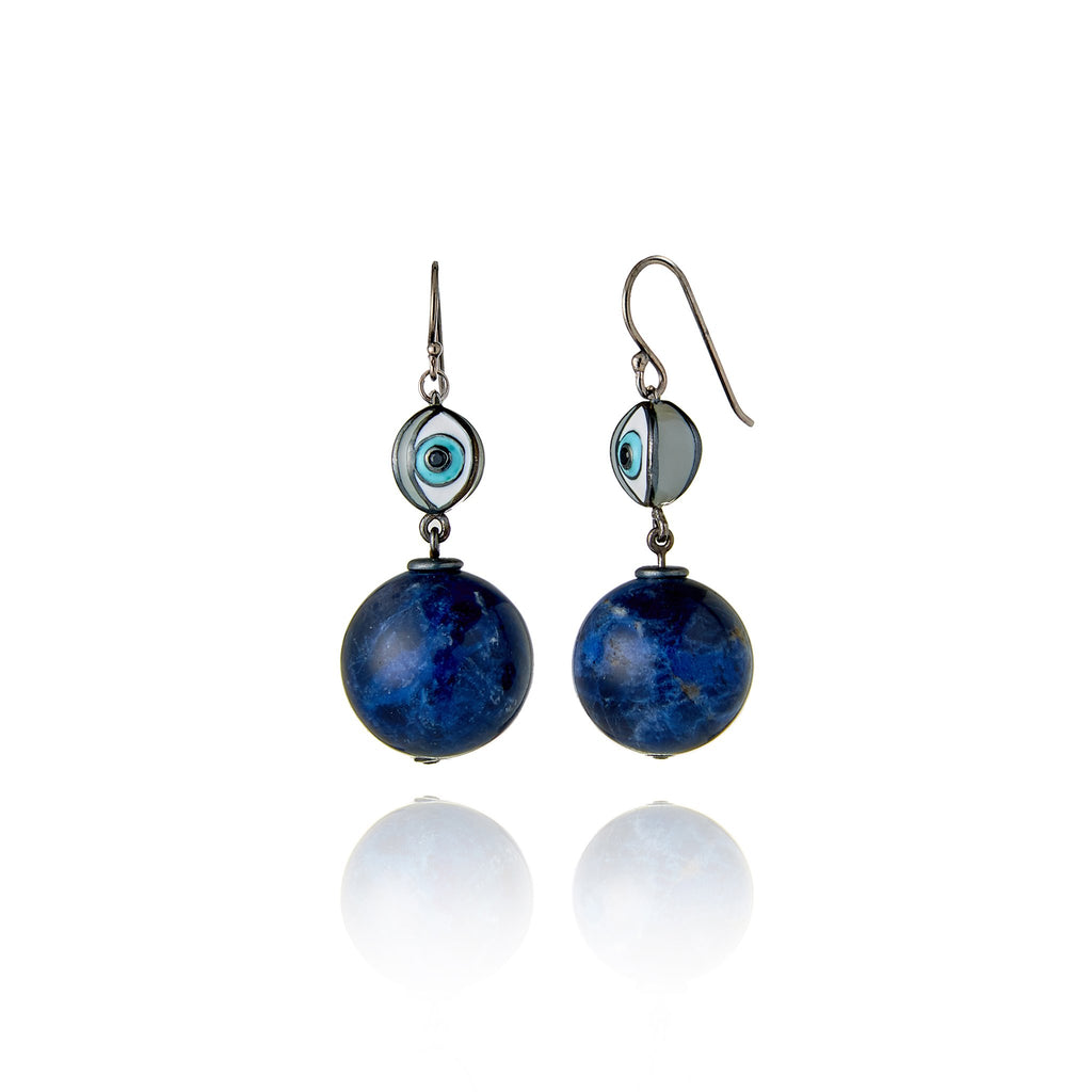 Black Rhodium Plated Sterling Statement Earring With Baby Blue White Taupe Enamal Black Spinel and Lapis Bead