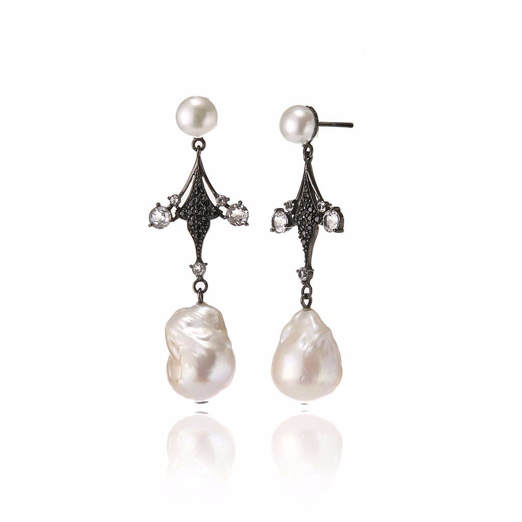 Sterling Silver Statement Earrings with Black Spinel, White Topaz & White Pearls