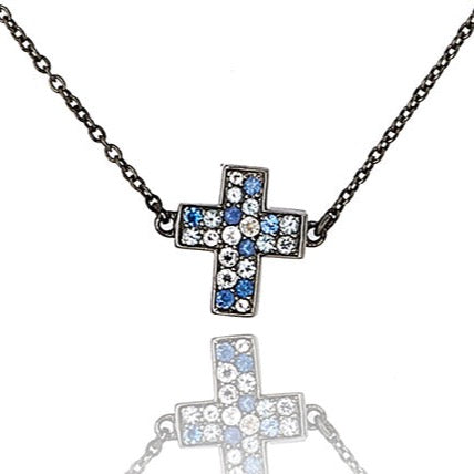 MCL Design Sterling Silver Cross Necklace with Mixed Ice Sapphires