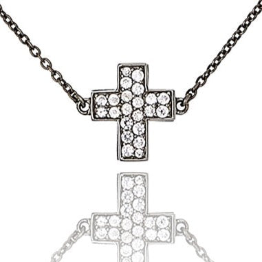 MCL Design Sterling Silver Cross Necklace with White Zircon