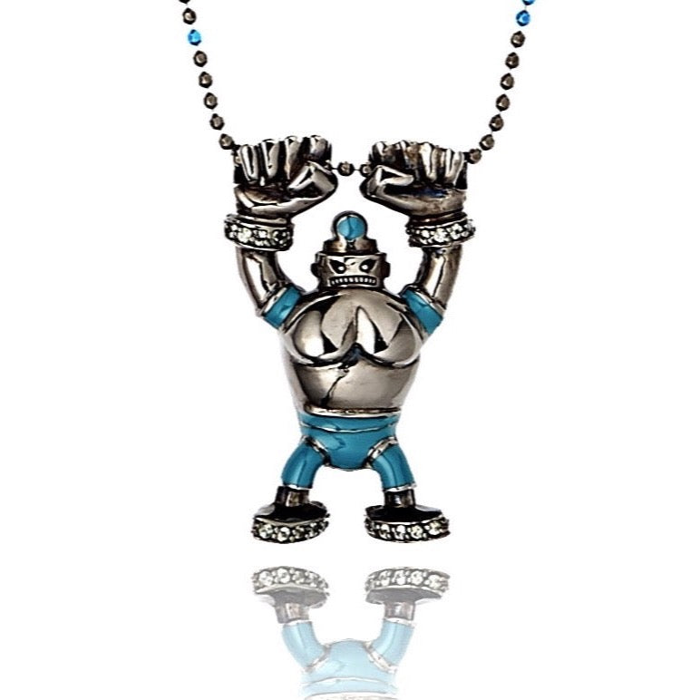 MCL Design Sterling Silver Robot Pendant with Toy Blue Enamel & Green Sapphires