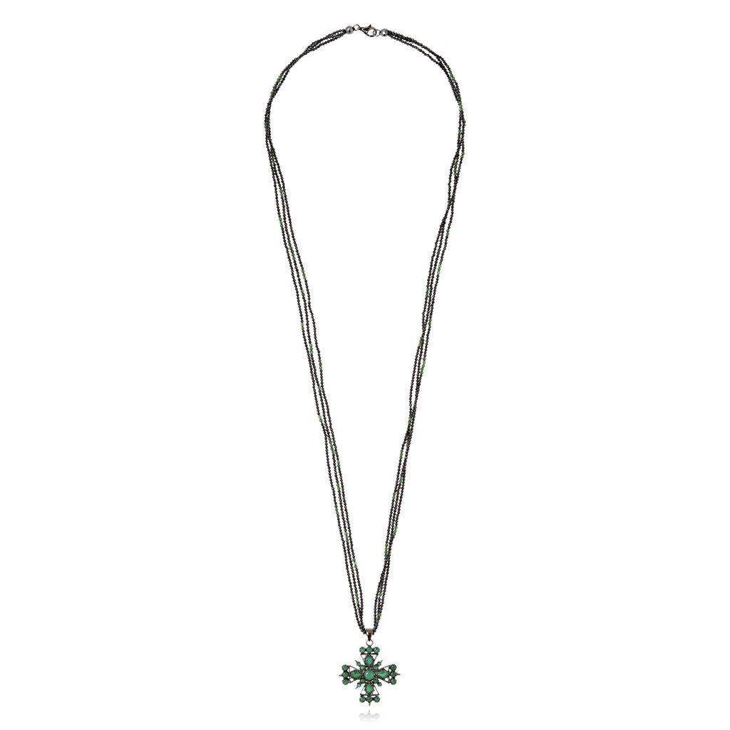 Sterling Silver Pendant Necklace With Green Agate, Black Spinel Beads, Green Agate Beads & Hematite Beads
