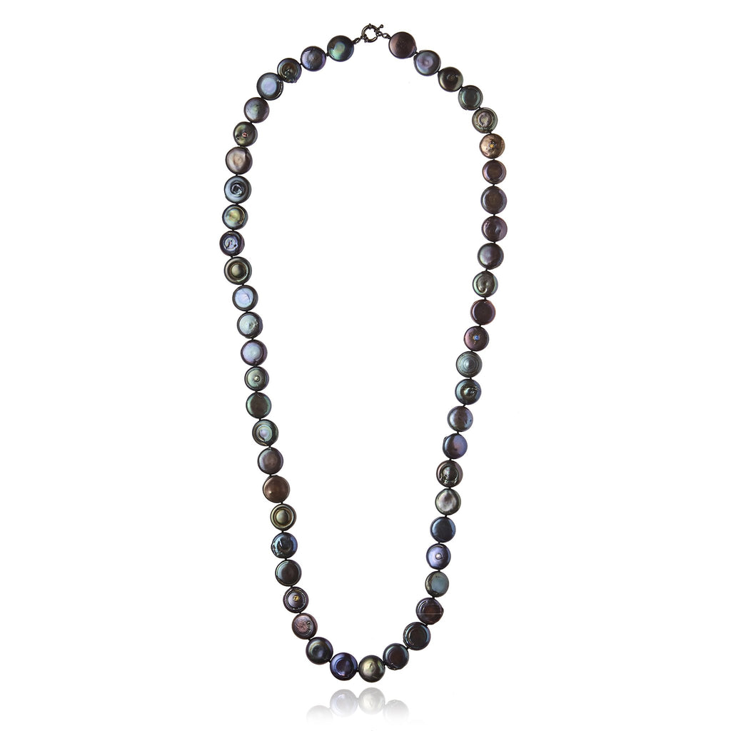 Sterling Silver Statement Necklace With Mixed Sapphires & Black Pearl