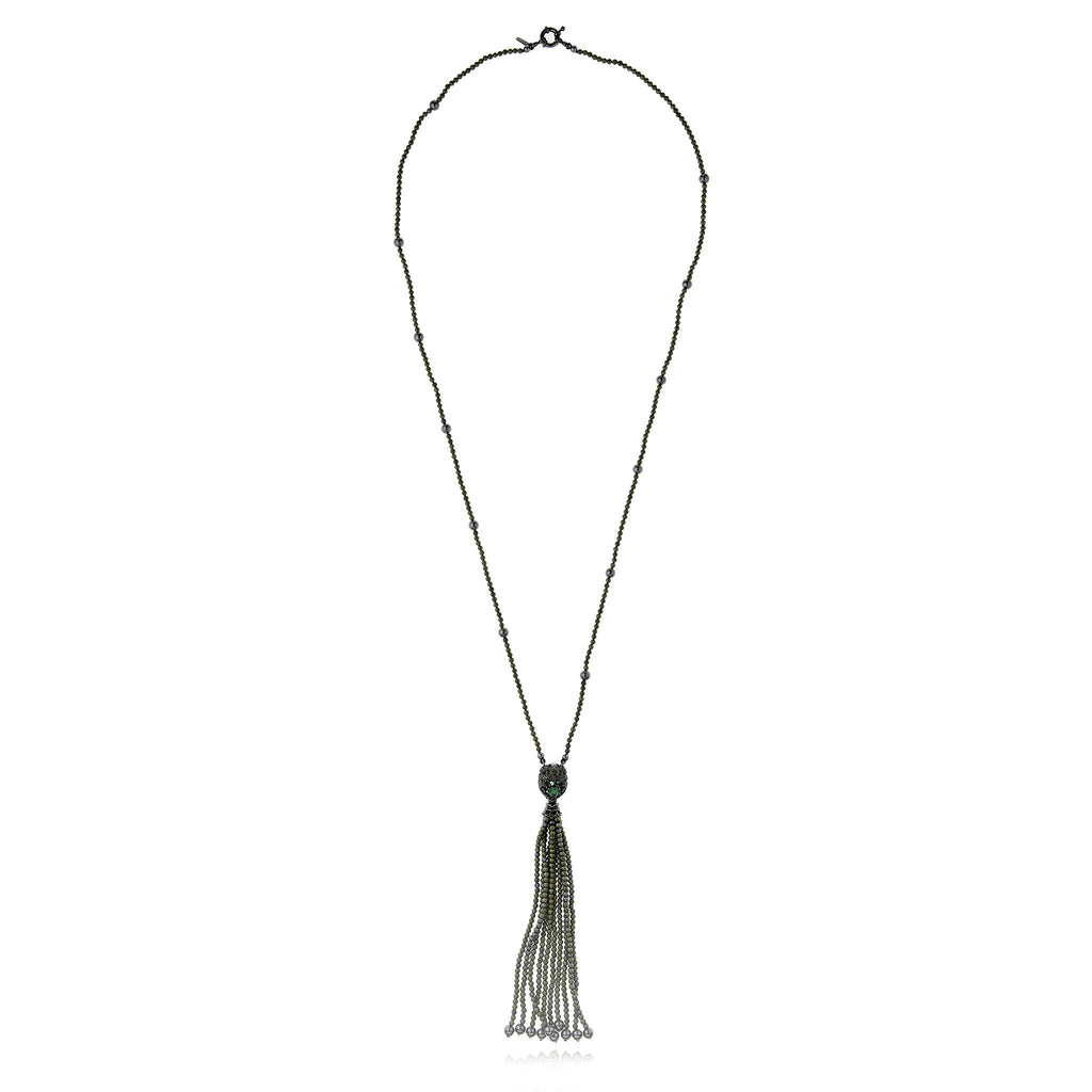 Sterling Silver Tassel Necklace With Black Spinel, Green Agate, Green Hematite Beads & Hematite Beads