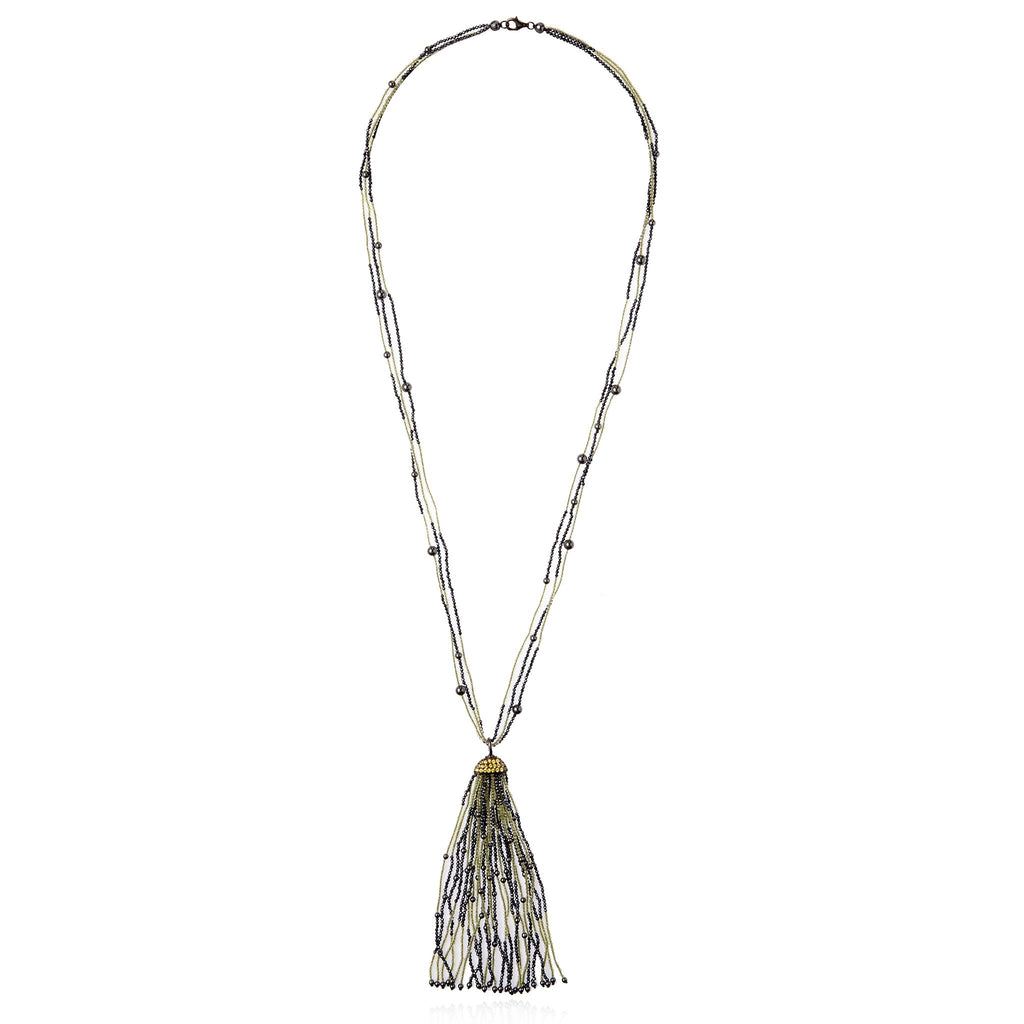 Sterling Silver Tassel Necklace With Yellow Sapphire, Brown Spinel, Hematite & Peridot