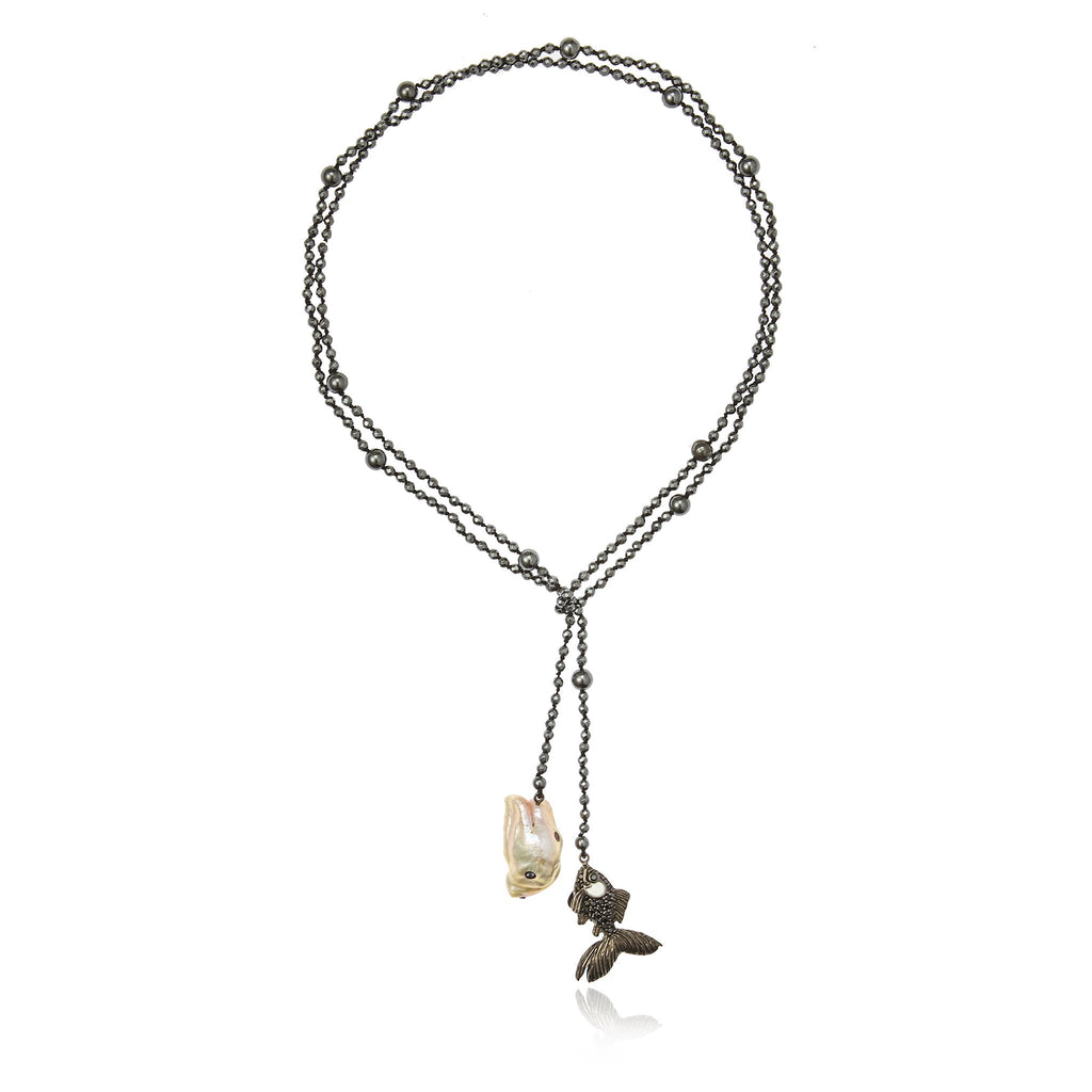 Sterling Silver Lariat Necklace With White Enamel, Black Spinel, Mixed Sapphires, Hematite Beads & White Pearl