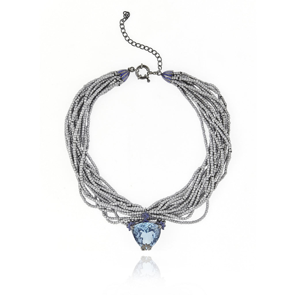 Black Rhodium Plated Sterling Tassel Necklace With Glitter Laser Grey Enamel Blue Topaz and Gray Hematite Bead