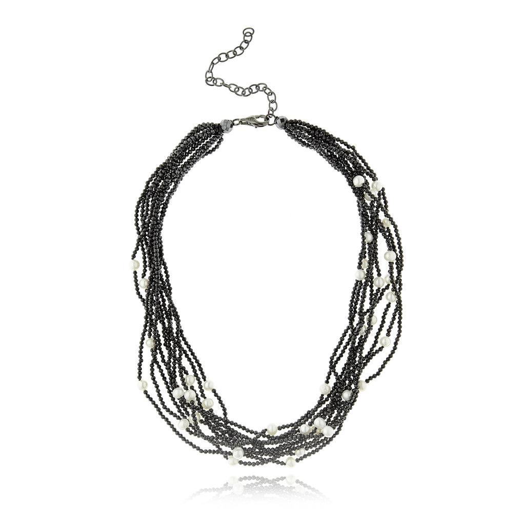 Sterling Silver Statement Necklace With Black Spinel Beads, Hematite Beads & White Pearl