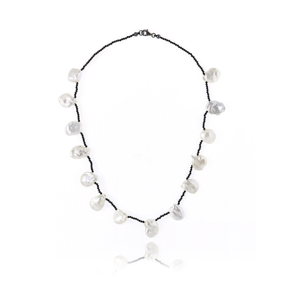 Black Spinel and Hematite Beaded Necklace With Sterling Silver & White Pearls