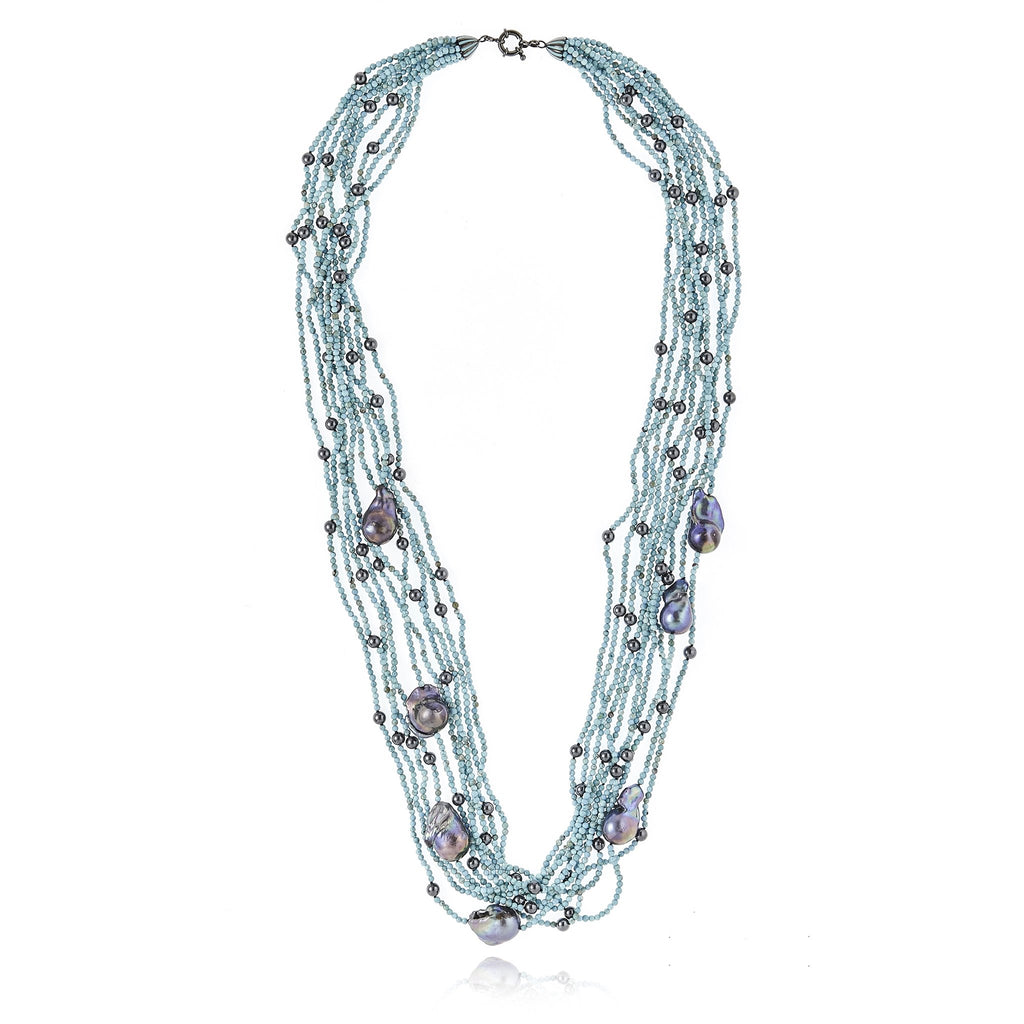 Sterling Silver Statement Necklace With Baby Blue Enamel, Turquoise Beads, Hematite Beads & Black Pearl