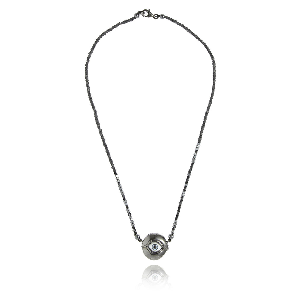Black Rhodium Plated Sterlin Statement Necklace With Baby Blue and White Enamel Black Spinel and Drihematite Bead and Hematite Bead