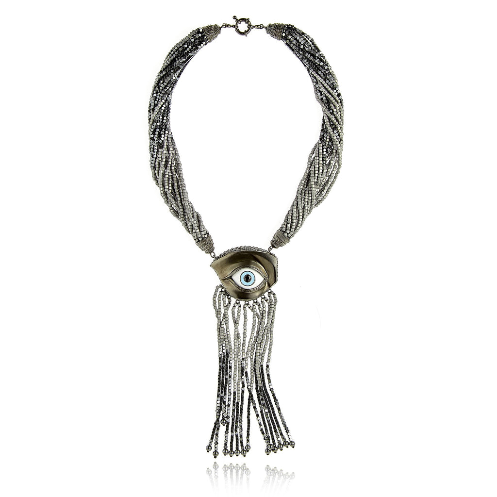 Sterling Silver Tassel Necklace With Baby Blue and White Enamel, Black Spinel, Black Onyx, Gray Hematite Beads and Hematite Beads