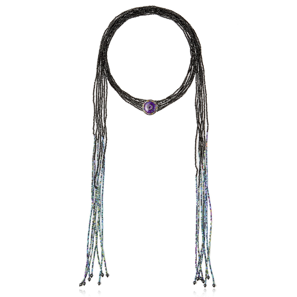 Sterling Silver Tassel Statement Necklace With Light Purple Glitter Enamel, Mixed Sapphires, Amethyst, Rainbow Hematite Beads, Black Spinel Beads & Hematite Beads