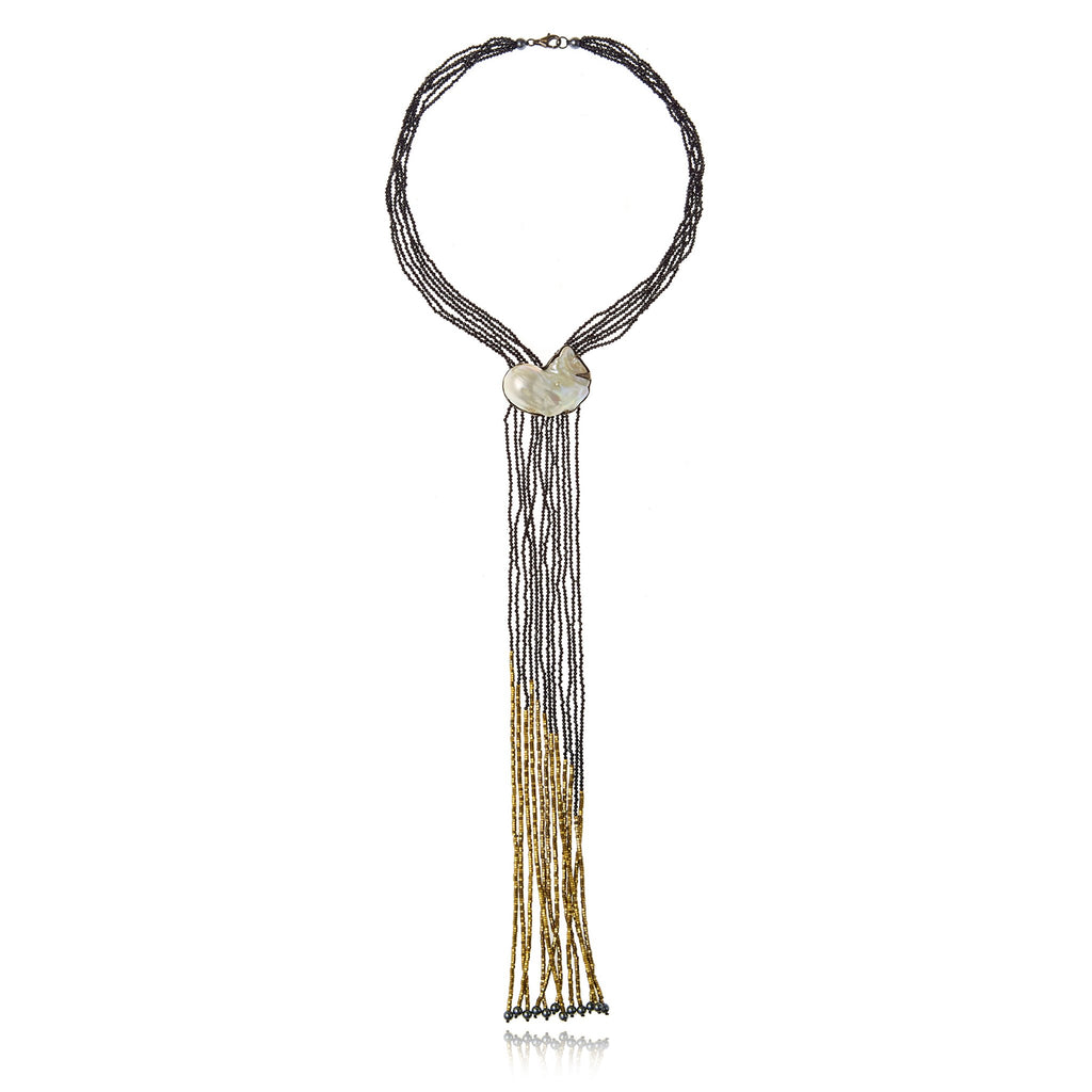 Sterling Silver Tassel Necklace With White Pearl, Pyrite Hematite Beads, Black Spinel Beads & Hematite Beads