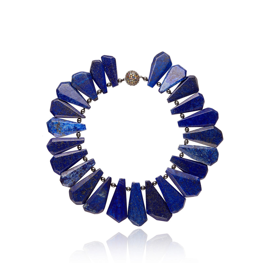 Sterling Silver Statement Necklace With Mixed Sapphires, Lapis Beads & Hematite Beads