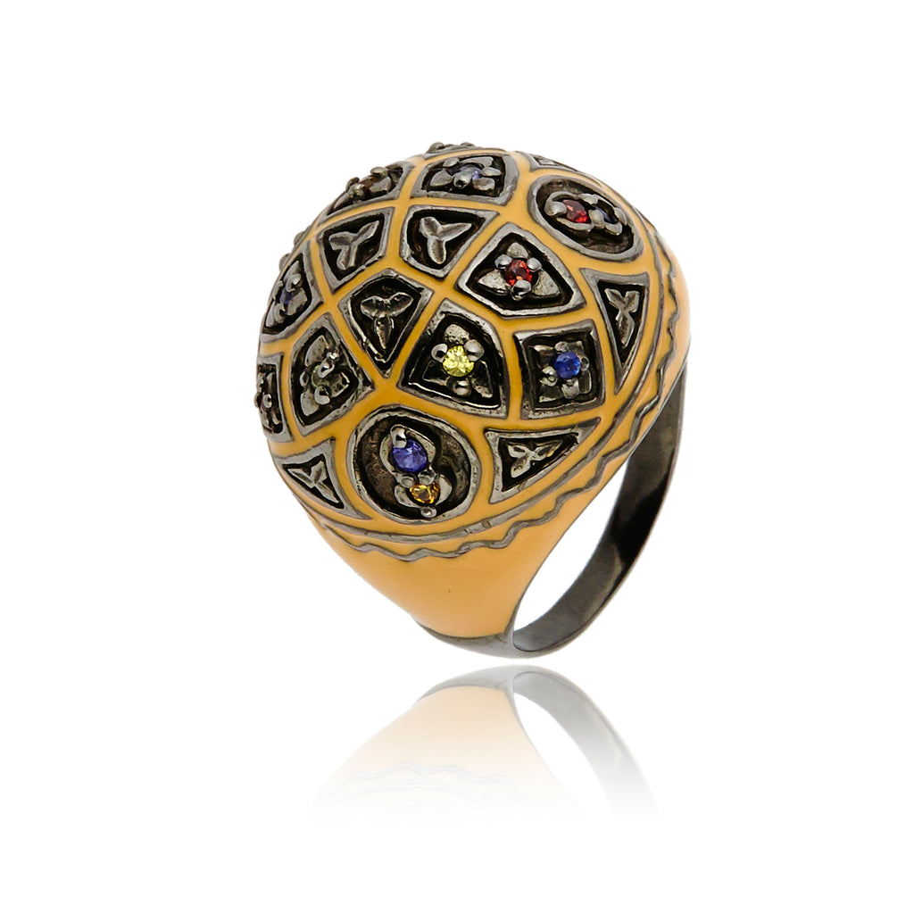 MCL Design Sterling Silver Mosaic Dome Statement Ring with Ivory Pink Enamel & Mixed Sapphires