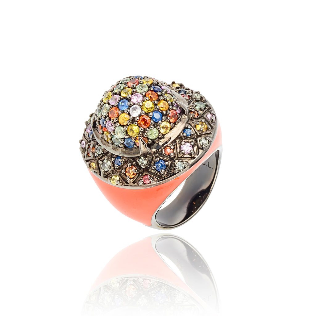 MCL Design Sterling Silver Statement Ring with Orange Enamel & Mixed Sapphires