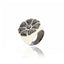 Sterling Silver Statement Ring With White Enamel, Black Spinel & Black Onyx